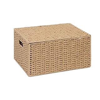 ARPAN Natural Paper Rope Storage Basket Box with Lid, X-Large