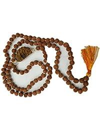 Himalaya Rudraksha Anusandhan Kendra 1 MUKHI RUDRAKSHA MALA (Lab Certified) one face rudraksh mala with five face rudraksh beads tested by authorized Gemmologist- GII , MUMBAI