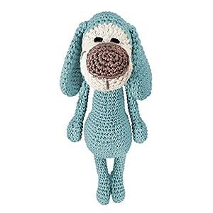 LOOP BABY – gehäkelter grauer Hund – Kuscheltier Hund aus Bio-Baumwolle – Hündchen grau Häkeltier
