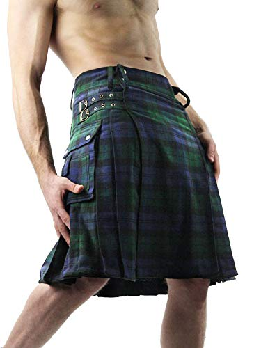 Erneut Herren Scottish Kilt Traditional Highland Tartan Kleid Combat Baumwolle Scottland Klassischer Rock