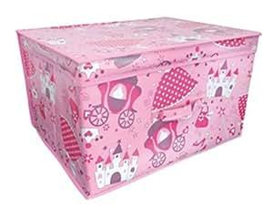 Kids Folding Storage Chest 50cm x 30cm x 40cm Girls Pink Princess Toy Box