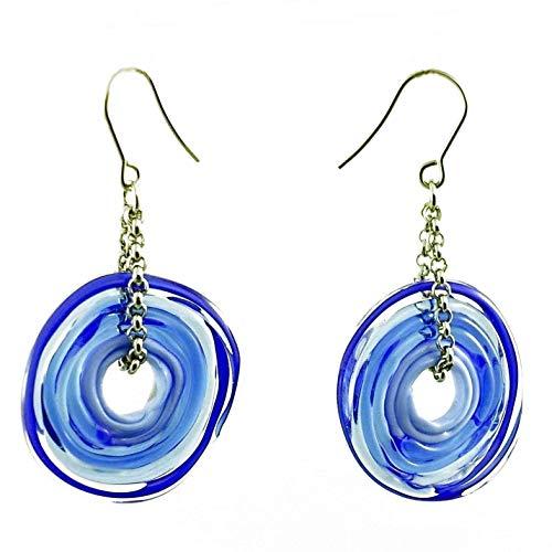 Murano-Glas   Edelstahl   Glas-Schmuck   Unikat handmade   Personalisiertes Geschenk für sie zu Valentinstag Jahrestag Hochzeit Geburtstag Weihnachten Mama Dame   blau ()