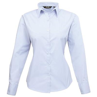 Premier Womens/Ladies Poplin Long Sleeve Blouse / Plain Work Shirt (10) (Light Blue)