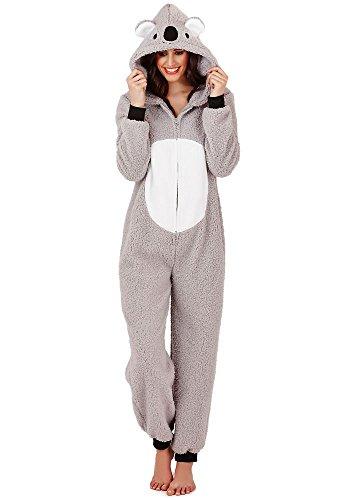 Continental Damen Jumpsuit Overall Tiere Gesichter Öhrchen 3D Kapuze Koala Bear 3D 79662/79762 - Damen Kostüm Strampler