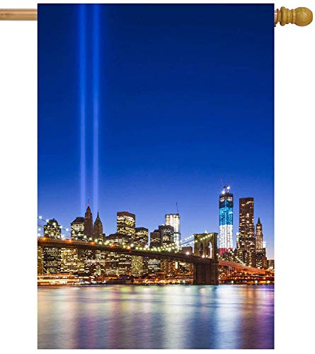 ASKYE New York City Brooklyn Bridge with September 11 Tribute in Light House Flag Double Sided Polyester Welcome Yard Garden Flag Banners for Patio Lawn Home Outdoor Decor(Size: 28inch W X 40inch H) -