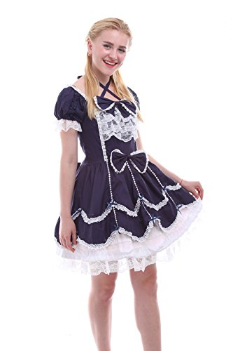 Nuoqi® Damen Kurzarm Lolita Prinzessin Kleid Cosplay Kostüm Dunkelblau (EU46, GC133D) (Kleid Kurzarm Kostüme)