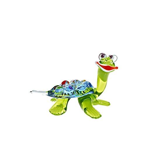 Glas Figur Glastier für Vitrine Schildkröte Handgeformte Unikate Tier