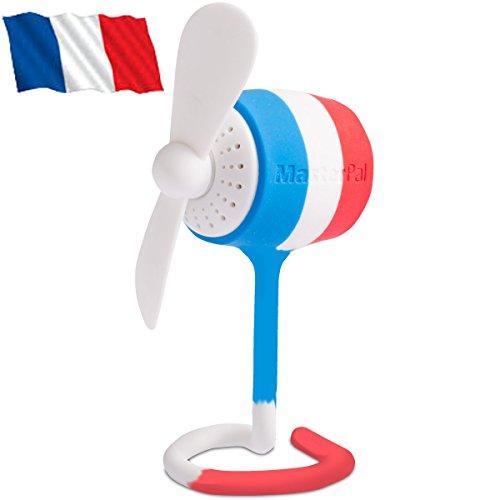 Preisvergleich Produktbild MasterPal Telego Fan (Französische Flagge): Ein Tragbarer Mini Klein USB Wasserdichter Wieder Aufladbarer Batterie Leistungsstarker 10.000 RPM Ventilator mit Aroma Spender Funktion