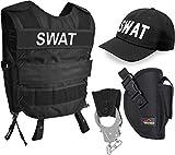 normani SWAT/Police/Security Kostüm für Damen und Herren - Unisex [XS-6XL] - bestehend aus Weste mit Patch, bestickter Cap, Handschellen + Handschellenhalter Farbe SWAT Größe M/L