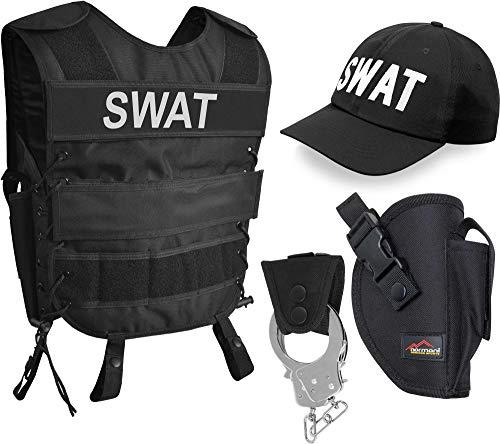 Kostüm Weste Taktische Swat - normani SWAT Kostüm für Damen und Herren - Unisex [XS-6XL] - bestehendaus Weste mit Patch, bestickter Cap, Handschellen + Handschellenhalter Größe 3XL/4XL