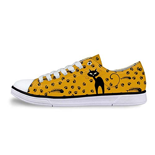 Cat Print Women Canvas Shoes Girls School Wear Lace Up Pumps Casual Plimsolls orange+cat Print UK 6 -