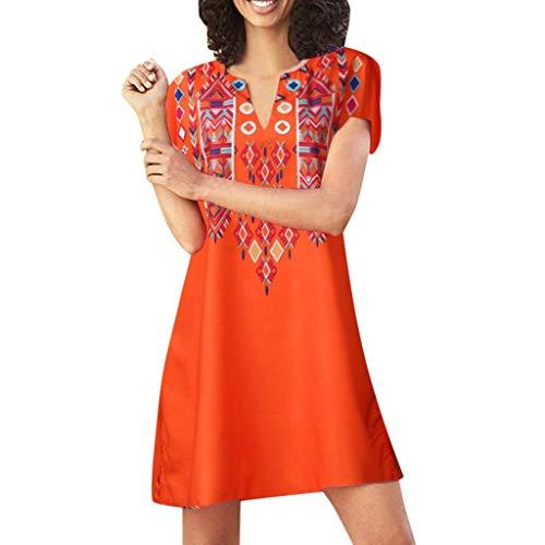 2019 komfortable Frauen lose Top T-Shirt Kleid Sommer Kurzarm V-Ausschnitt Print Mini Party Strandkleid Print-mini-kleid Top
