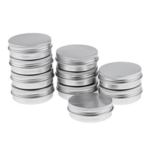 Baoblaze Pot en Aluminium, 10 Pièces Boîte Cosmétique Contenant Rond avec Couvercle pour Crème Cosmétique, Baume, Bougie - Idéal pour Voyage - 40g