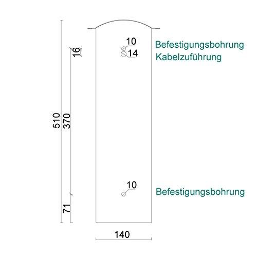 Edelstahl Briefkasten mit Halterung für Doppelstabmattenzaun, RAL 7016 Anthrazitgrau (Art.Nr. 02.1 SET) - 4