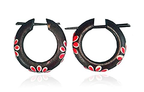 Schmuck Ohrhänger Ohrringe Creolen Blume, 25 mm, Holz schwarzbraun Blumen Motiv, Holzschmuck Holzohrringe Afrika Style