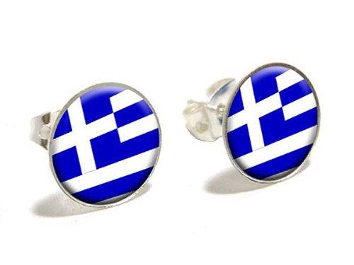 sche Flagge Fantasie Ohrstecker in versilbert (Griechenland Kostüme)