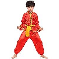 Fuyingda Mangas Largas Unisex Niños Traje de Artes Marciales Kung Fu Uniformes Ropa De Tai Chi Disfraces