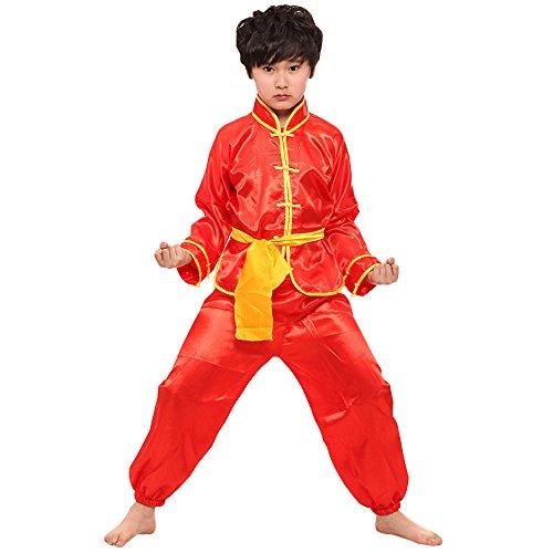 BOZEVON Unisex Kinder Mädchen Junge Kung Fu Anzug Tai Chi Anzug Shaolin Einfarbig Kampfsportanzug Tanzkostüme, Rot