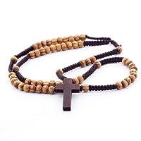 DonDon Holz Rosenkranz mit hellbraunen Perlen und dunkelbraunem Kreuz