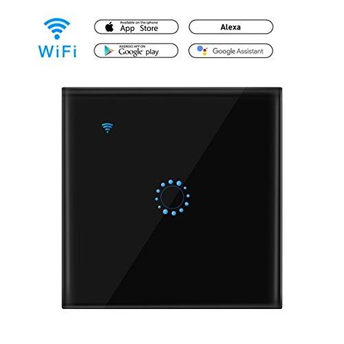 Greenbang Wall Switch Wi-Fi Touch Wandleuchte Schalter Panel Wireless Intelligence Wall Switches Unterstützung Timing und APP Fernbedienung Arbeiten mit Alexa Google Home (Neutralleiter erforderlich) (1 Gang -Black) (Ferngesteuerte Lichtschalter)