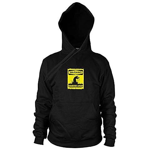 Warning Graboids - Herren Hooded Sweater, Größe: S, Farbe: schwarz (Wie Begann Weihnachten)