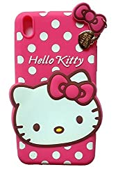 Octer Covers For HTC Desire 816 Back Cover Hello Kitty Silicone With Pendant (Pink)