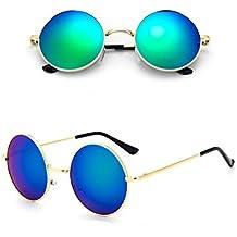 Lunettes de soleil Chic-net unisexe lunettes rondes de hippie John Lennon teintées 400UV longue jetée de Rainbow uN4xds1