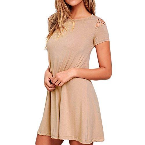 Frauen Mode Kurzarm Rundkragen Trägerlos Loose Beiläufige Pullikleid Beachwear Minikleid Freizeitkleid Partykleid Kleid Freizeitkleider Khaki