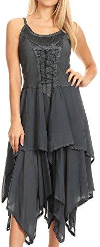 Sakkas 9031Lady Mary Jacquard Korsett Taschentuch Saum Kleid - Grau - OS (Kleid Taschentuch Saum)
