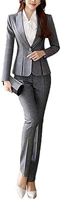 SK Studio Mujer Chaqueta De Traje De Negocios Pantalón Chaqueta Blazer Elegante Manga Larga Ajustado Pantalón De Traje Abrigo Con Un Solo Botón