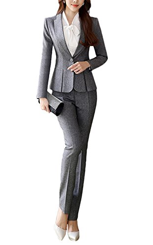 SK Studio Damen Business Hosenanzuge Slim Fit Blazer Reverskragen Karriere Hosen Anzug Set Grau 32 Tag M
