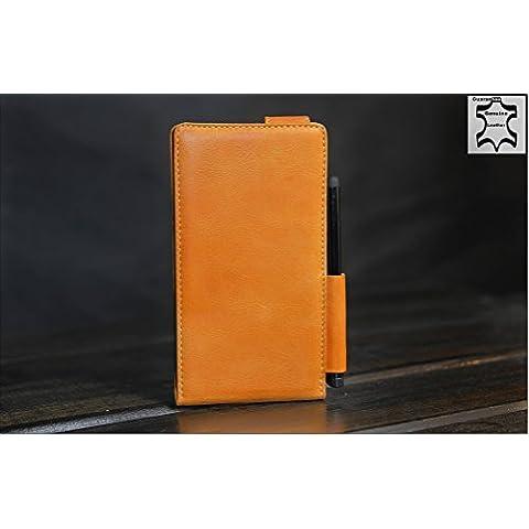Urcover® Nokia Lumia 925 | Funda Carcasa Akira | Cuero en Marrón Bolífrago | Hecho a mano Case Cover Protección Smartphone Móvil Accesorio
