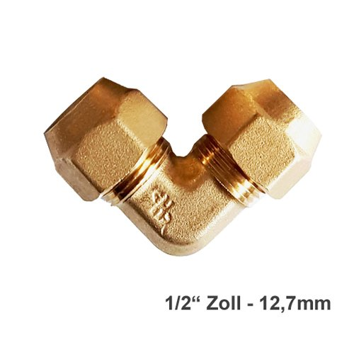 "Verbindungsnippel Bördelmutter Messing 1/2\"" Zoll 90° Winkel Set für gebördelte Kupferleitung Kältemittelleitung"