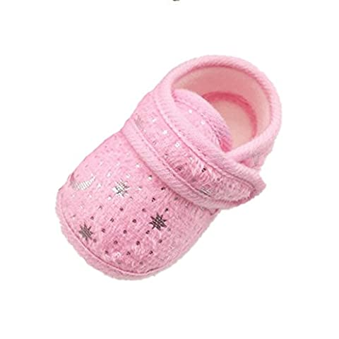 Saingace Starry Sky Printed Toddler Anti-Slip Soft Baby Shoes (Age 12~18 Month, Pink)