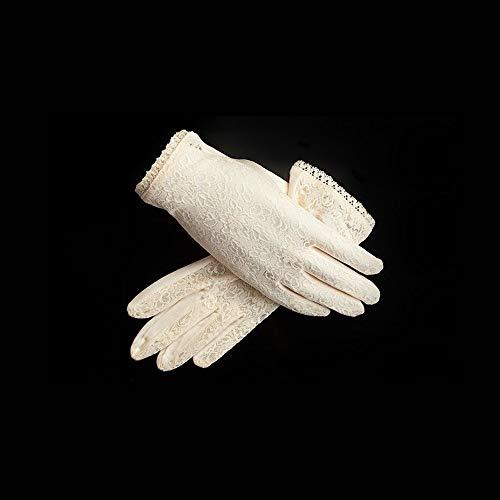 Agelec Seide Naturseide Spitze Kurze Atmungsaktive Damen Handschuhe Komfortables Fahren Sonnenschutz Handschuhe Braut Hochzeit Handschuhe Spitze Satin Brauthandschuhe (Color : Beige) -