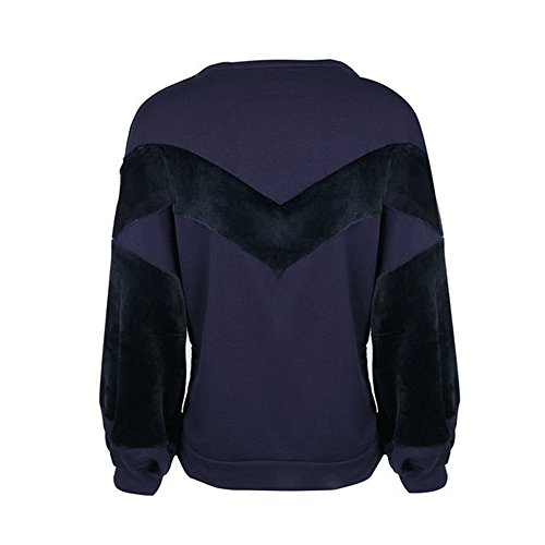 Vertvie Femme Sweat-Shirt Col Rond Patchwork Polaire Top Crop Blouse Pullover Casual Violet