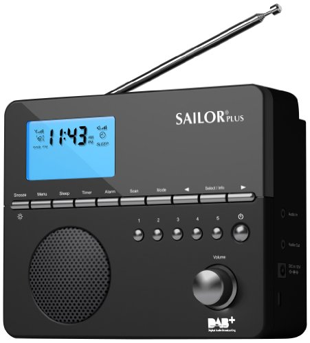 Sailor SA-225 tragbares Radio (DAB/DAB+/UKW) inkl. Weck-Funktion schwarz