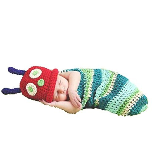 Caterpillar, Newborn Baby Girl/Boy Crochet Knit Costume Photo Photography Prop Hats Outfits (Neugeborene Kostüm)