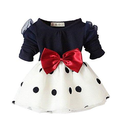 Kleid Baby Mädchen (Arrowhunt Baby Mädchen Langarm Bowknot Polka Dots Organza Schwarz Kleider( für 3-24 Monate)