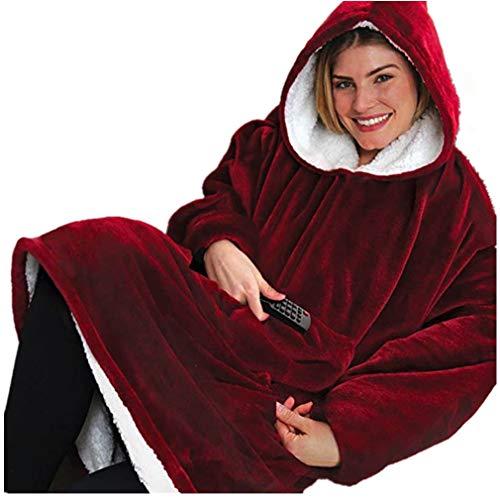 (HyPee Huggle Hoodie Ultra Plüsch Decke Flanell Hoodie Soft Warm One Size Fit Alle, Männer Frauen Winter Warm Hoodies Mäntel (Rot))