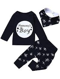 """URSING Dreiteiligen Anzug Kleinkind Säugling Baby Jungen Buchstabe """"Mummy Boy"""" Gedruckt Lange Ärmel T-Shirt + Super gemütlich Freizeit Hose + Niedliche Lätzchen Outfits Kleider Set"""
