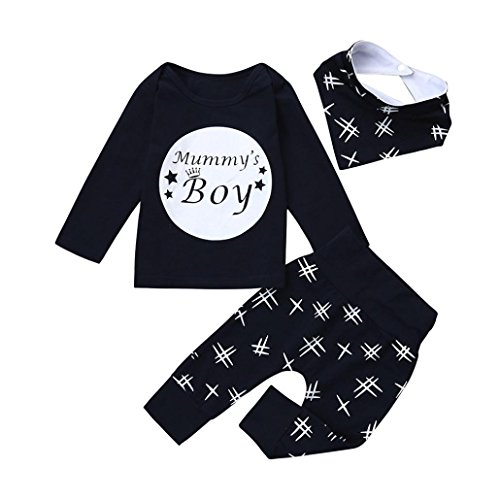 URSING Dreiteiligen Anzug Kleinkind Säugling Baby Jungen Buchstabe Mummy Boy Gedruckt Lange Ärmel T-Shirt + Super gemütlich Freizeit Hose + Niedliche Lätzchen Outfits Kleider Set (100CM, ()