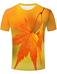 qianyishop Mens 3D Print Autumn Leaf Graphic T Shirts Couple Tees