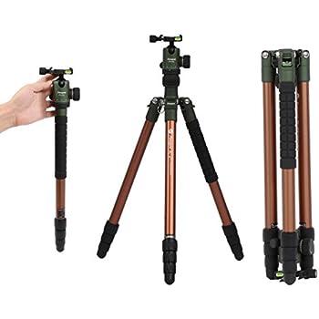 Fotopro professionale fotocamera treppiede in alluminio, compatto e portatile monopiede treppiede per fotocamera e DSLR Nikon, Sony, Canon, Pentax, con borsa per il trasporto, verde.