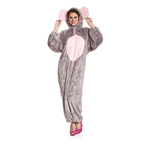 Kostümplanet Maus-Kostüm Damen Overall weich Mäuschen Damen-Kostüm Größe 46/48
