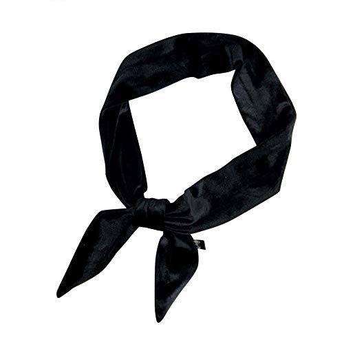 Donna Fazzoletti da collo Fascia Colore Solido Scarf Sciarpa Elegante Foulard Nero One Size