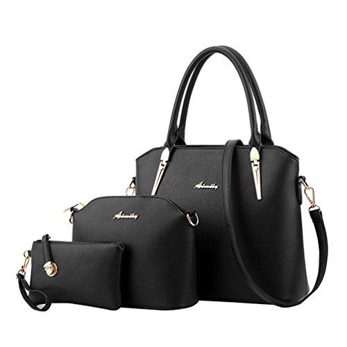 Yaancun donna borsa set per la borsa messenger in pelle 3 pezzi pu borse borsa nero