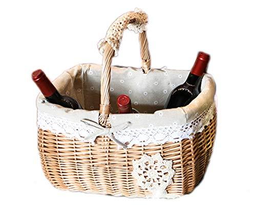 JASNO Natürliche Rattan Wein Halter Fernbedienung Besteck Schutt Rattan Speicher Korb Frucht Körbe Kombination Mit Griff -
