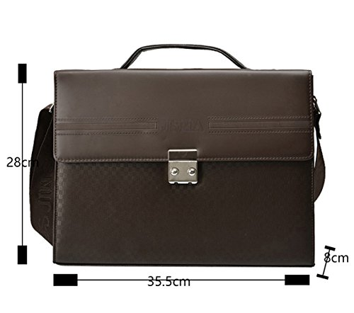 Mocael Herren Klassisch PU-Leder AktentascheBüro Handtasche Freizeit Umhängetasche Männer Solid Business Messenger Tasche mit Magnetschließe Braun B