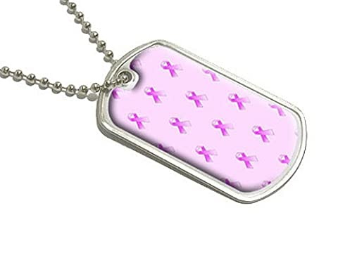 Breast Cancer Awareness Ribbons - Military Dog Tag Luggage Keychain